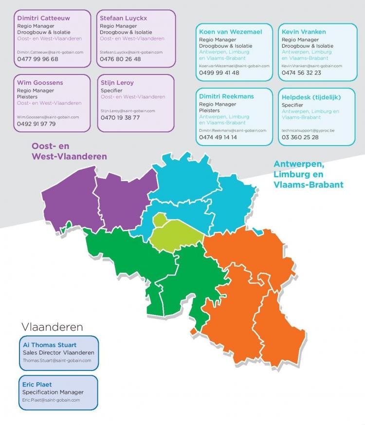 Kaart met contactgegevens Gyproc Vlaanderen